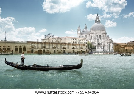 Grand Canal and Basilica Santa Maria della Salute, Venice, Italy #765434884