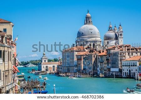 Grand Canal and famous Basilica Santa Maria della Salute. Venice, Italy. #468702386