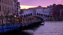 Grand Canal and Rialto Bridge at sunset in Venice, Italy. Photo taken 28.07.2017 in Venice, Italy.