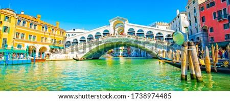 Photo of  Grand Canal and Rialto bridge panorama in Venice, Italy travel photo