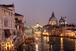 Grand canal and the Basilica of St Mary in Venice, Italy.