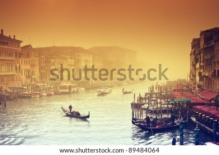 Grand Canal at a foggy evening. Venice - Italy