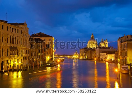 Grand canal at evening, Venice - stock photo