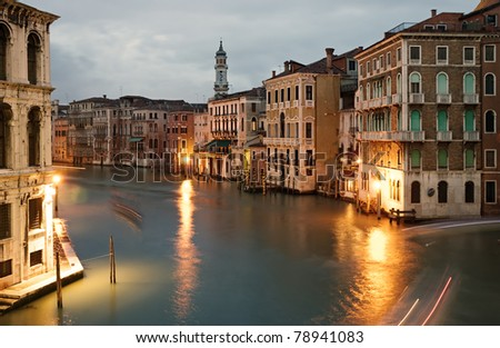 Grand canal at night, Venice, Italy.