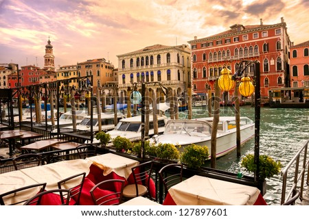 Grand Canal at sunset, Venice, Italy.