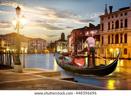 Grand Canal in sunset time, Venice, Italy Foto stock ©