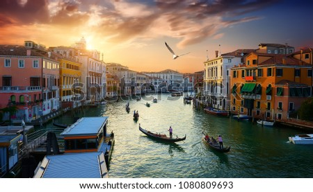 Grand Canal in Venice at the sunset, Italy #1080809693
