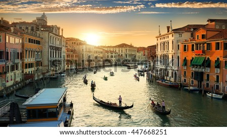 Grand Canal in Venice at the sunset, Italy #447668251
