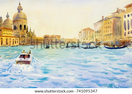 Grand Canal in Venice, Italy. Santa Maria della Salute church. Motor boats are the main transport in Venice with gondoliers. Watercolor original landscape painting illustration landmark of the world.
