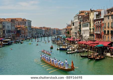 Grand Canal in Venice, Italy, the day of a Regatta