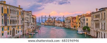 Grand Canal in Venice, Italy with Santa Maria della Salute Basilica in the background at twilight #683196946