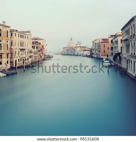 Grand Canal in Venice - view from the Acedemy bridge with Basilica di Santa Maria della Salute background