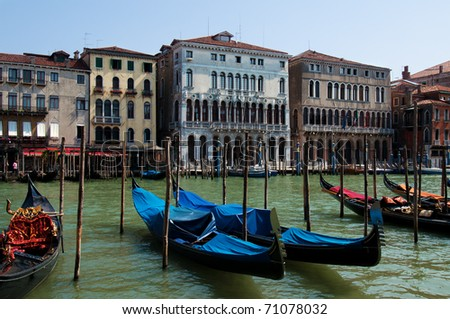 Grand canal of Venice with gondolas, Italy