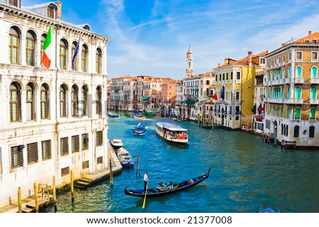 Grand Canal, the most important canal in Venice, Italy