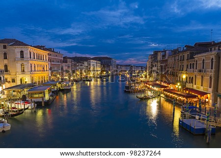 Grand canal,view from Rialto bridge in Venice, Italy