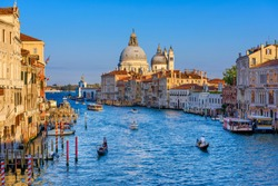 Grand Canal with Basilica di Santa Maria della Salute in Venice, Italy. View of Venice Grand Canal. Architecture and landmarks of Venice. Venice postcard