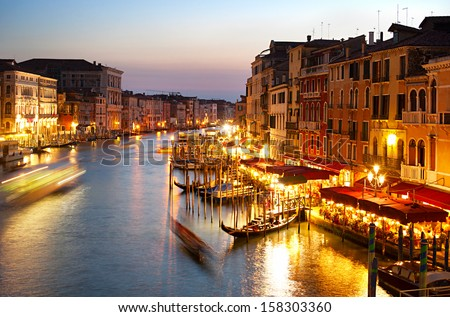 Grand canale in Venice. View from Rialto Bridge