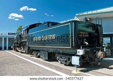 GRAND CANYON, ARIZONA - SEPTEMBER 30, 2011 - Historical stream locomotive in Grand Canyon National Park on September 30, 2011 in Arizona, USA. The Grand Canyon Railway is a passenger railroad.