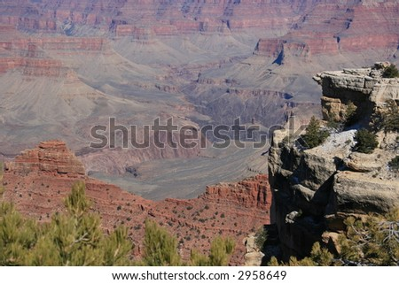 Grand Canyon, Arizona, south rim view into canyon with cliffs in foreground
