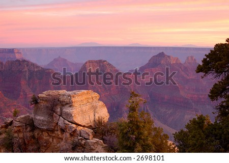 Grand Canyon from Bright Angel viewpoint (North Rim) at sunset.