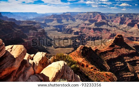 Grand canyon landscape view with rocks in foreground