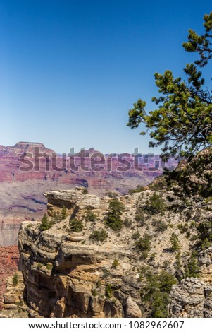 Grand Canyon Landscape with Blue Sky and Purple Canyons in Arizona, United States stock photo