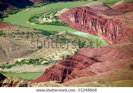 grand canyon national park colorado river landscape, arizona, usa