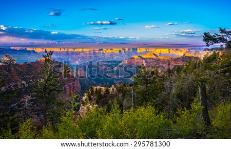 Grand Canyon North Rim Beautiful Sunset Sky