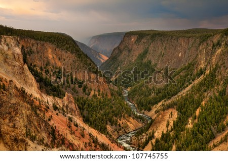 Grand Canyon of the Yellowstone in Yellowstone National Park, Wyoming.