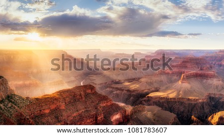 Grand Canyon Sunset from Hopi Point during summer monsoon