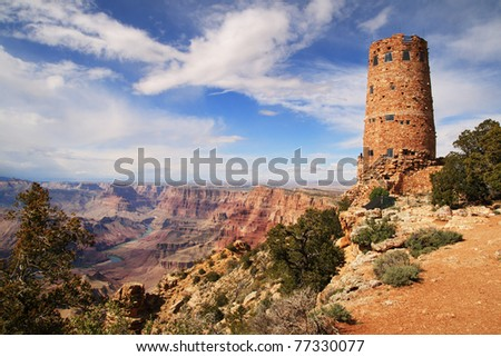 Grand Canyon watchtower at the desert view overlook - stock photo