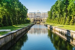 Grand Cascade Fountain and Palace in Saint Petersburg. Russia