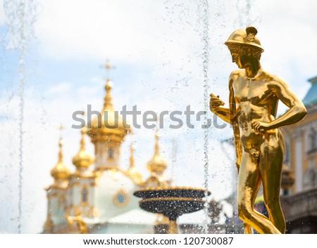 Grand cascade fountains at Peterhof palace, St.Petersburg, Russia.