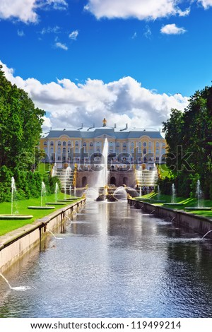 Grand cascade in Pertergof, Saint-Petersburg, Russia - stock photo