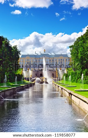 Grand cascade in Pertergof, Saint-Petersburg, Russia