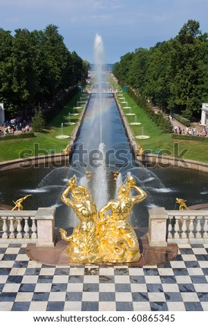 Grand cascade of fountains in Pertergof, Saint-Petersburg, Russia.