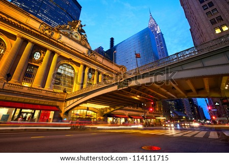Grand Central along 42nd Street at dusk, New York City