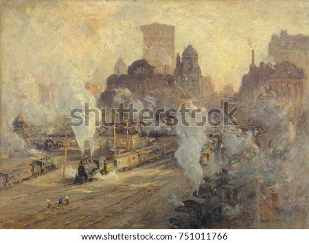 GRAND CENTRAL TERMINAL, by Colin Campbell Cooper, 1909, American painting, oil on canvas. The train yard of Grand Central Station during the ten year demolition and construction of the new Grand Centr