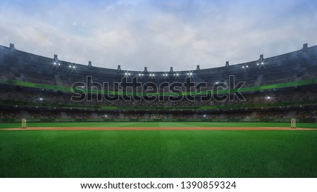 Grand cricket stadium with wooden wickets side view in daylight, modern public sport building 3D render series