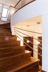 Grand design - Closeup of wooden elegant staircase