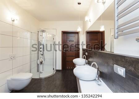 Grand Design Interior Of A New Bathroom Stock Photo 135242294