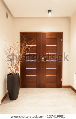 Grand design - wooden door, main entrance Foto stock ©