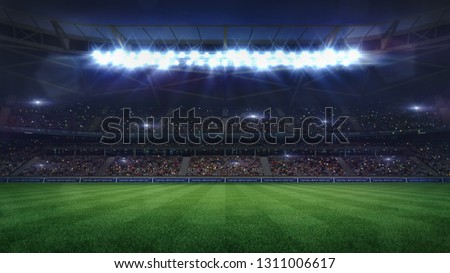grand football stadium middle view illuminated by spotlights and empty green grass, football stadium sport theme digital 3D background advertisement illustration my own design