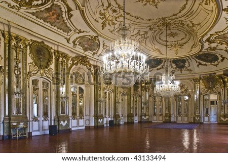 Grand hall in National Palace of Queluz, Lisbon, Portugal