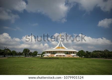 "Grand hall of King Rama IX Park call ""Rajamangala-hall"", The famous park of Bangkok,Thailand."