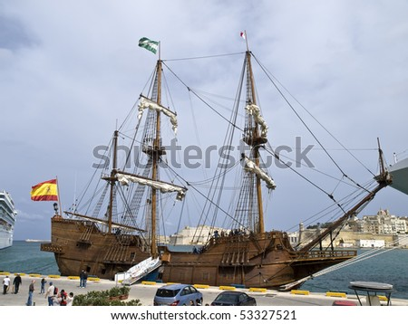 GRAND HARBOUR, MALTA - APR 7: Spanish 17th Century galleon replica berthed at The Valletta Waterfront 29th August 2009 in Malta