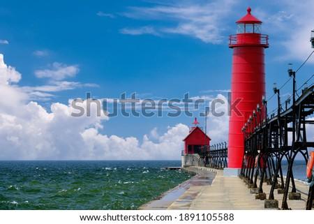 Grand Haven South Pierhead Inner Light, built in 1905, Lake Michigan, MI, USA Сток-фото ©