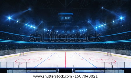 Grand ice hockey rink and illuminated indoor arena with fans, tribune side view, professional hockey sport 3D render illustration background