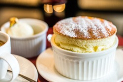 Grand Marnier Souffle with Vanilla Ice Cream