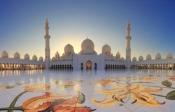 Grand Mosque in Abu Dhabi in the evening. Panorama of exterior of Sheikh Zayed Mosque